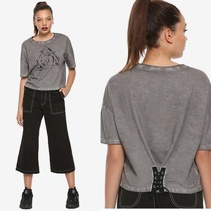 Fantastic Beasts Lace-Up Crop Top In Gray & Black